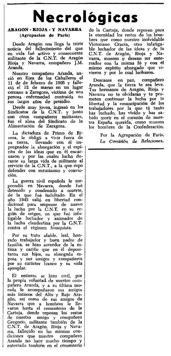 """Necrològica de J. M. Aranda apareguda en el periòdic tolosà """"Espoir"""" del 30 de maig de 1965"""
