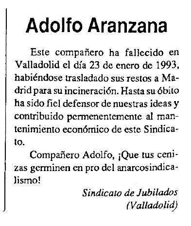"""Necrològica d'Adolfo Aranzana Asegurado apareguda en el periòdic bilbaí """"CNT"""" de març de 1993"""