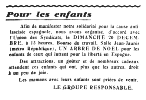 """Notícia sobre l'acte apareguda en el periòdic parisenc """"L'Espagne Antifasciste"""" del 18 de desembre de 1936"""