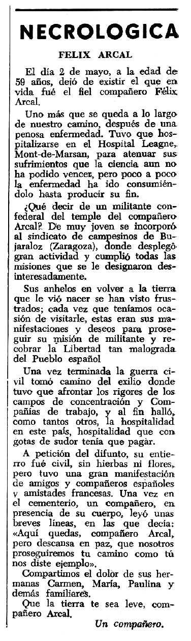 """Necrològica de Félix Arcal Berenguer apareguda en el periòdic tolosà """"Espoir"""" del 9 de juny de 1963"""