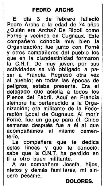 """Necrològica de Pere Archs Colomé apareguda en el periòdic tolosà """"Espoir"""" del 16 de juny de 1974"""
