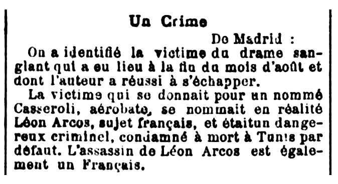 """Notícia sobre l'assassinat de Léon Arcos apareguda en el periòdic parisenc """"La Politique Coloniale"""" del 6 de setembre de 1905"""