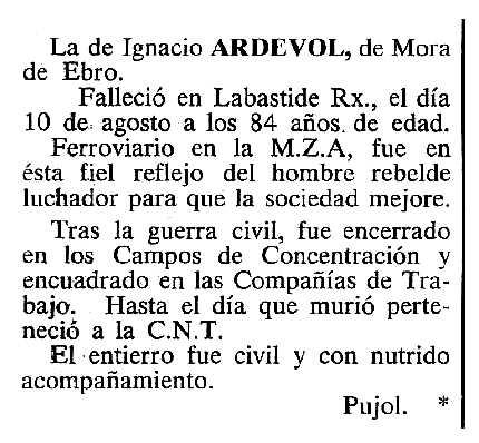 """Necrològica de Manuel Ardevol Solé apareguda en el periòdic tolosà """"Cenit"""" del 25 d'octubre de 1983"""