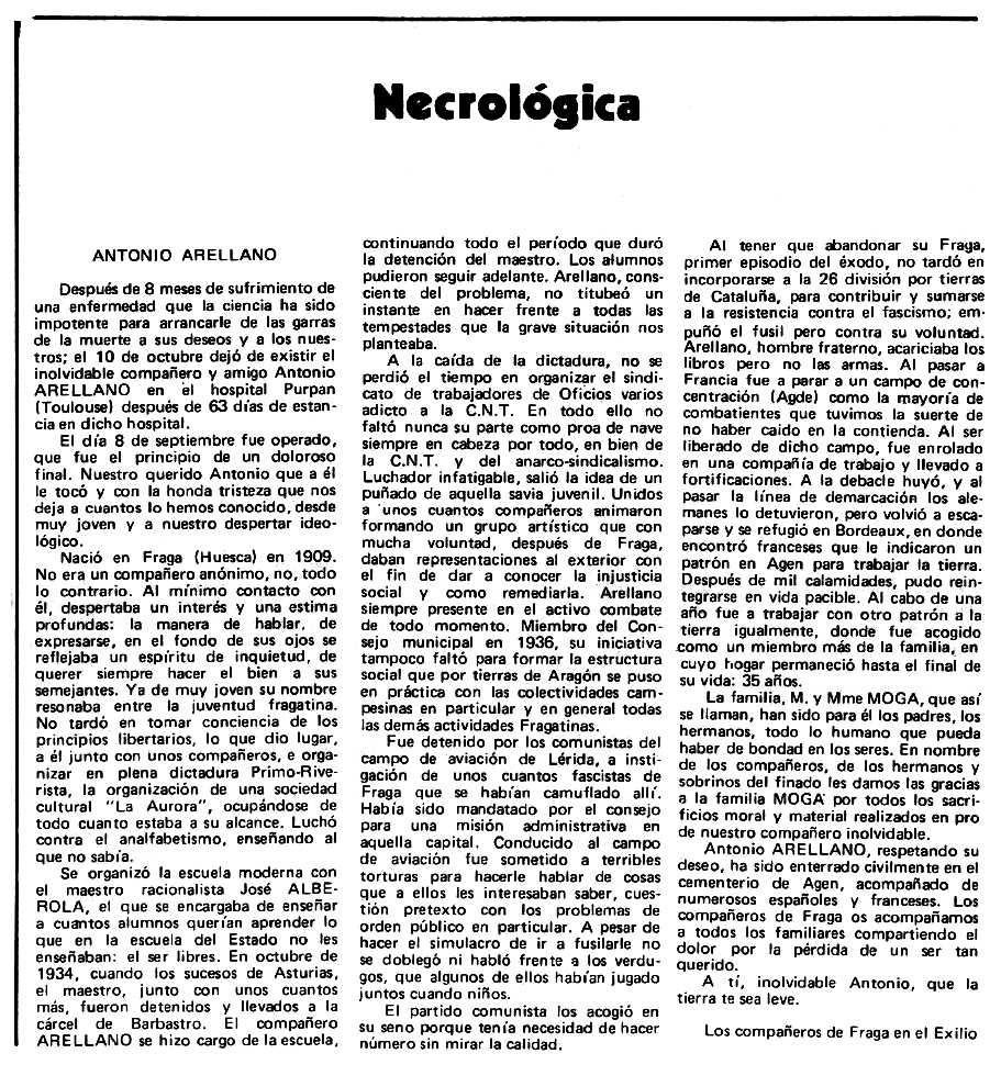 """Necrològica d'Antonio Arellano Cortí apareguda en el periòdic tolosà """"Espoir"""" del 6 d'abril de 1980"""
