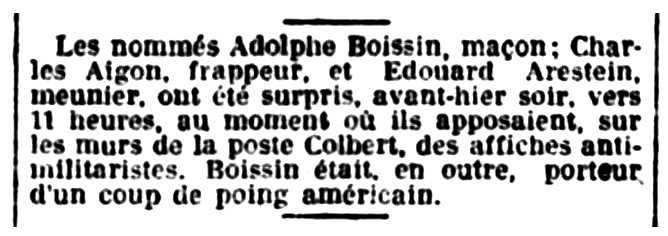 """Notícia de la detenció d'Édouard Arestein publicada en el diari marsellès """"Le Petit Marseillais"""" del 2 de maig de 1921"""