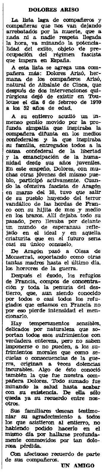 """Necrològica de Dolores Arisó Llesta apareguda en el periòdic tolosà """"Espoir"""" del 12 d'abril de 1970"""