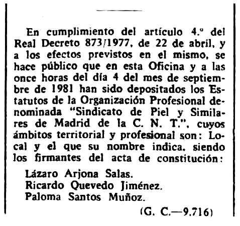 """Nota sobre la legalització del Sindicat de Pell de la CNT apareguda en el """"Boletín Oficial de la Província de Madrid"""" del 23 de setembre de 1981"""