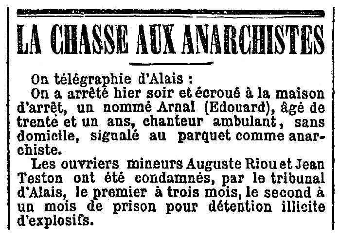 """Notícia d'una de les detencions d'Édouard Arnal apareguda en el periòdic parisenc """"La Presse"""" del 28 d'agost de 1895"""