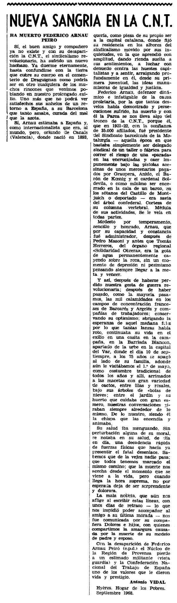 """Necrològica de Frederic Arnau Peiró apareguda en el periòdic tolosà """"Espoir"""" del 27 d'octubre de 1968"""