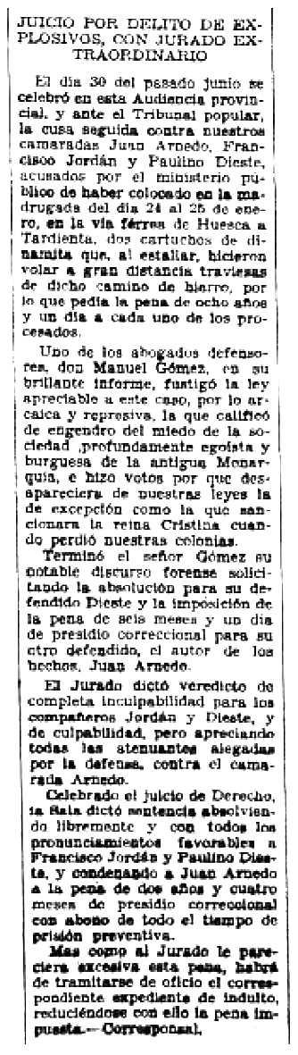 """Notícia sobre la condemna de Juan Arnedo apareguda en el periòdic barcelonès """"Solidaridad Obrera"""" del 10 de juliol de 1932"""