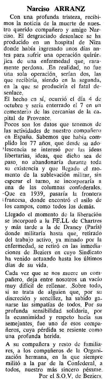 """Necrològica de Narciso Arranz Andrés apareguda en el periòdic tolosà """"Cenit"""" del 12 de desembre de 1989"""