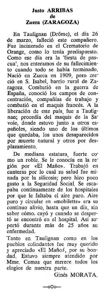 """Necrològica de Justo Arribas Murillo apareguda en el periòdic tolosà """"Cenit"""" del 12 de setembre de 1989"""
