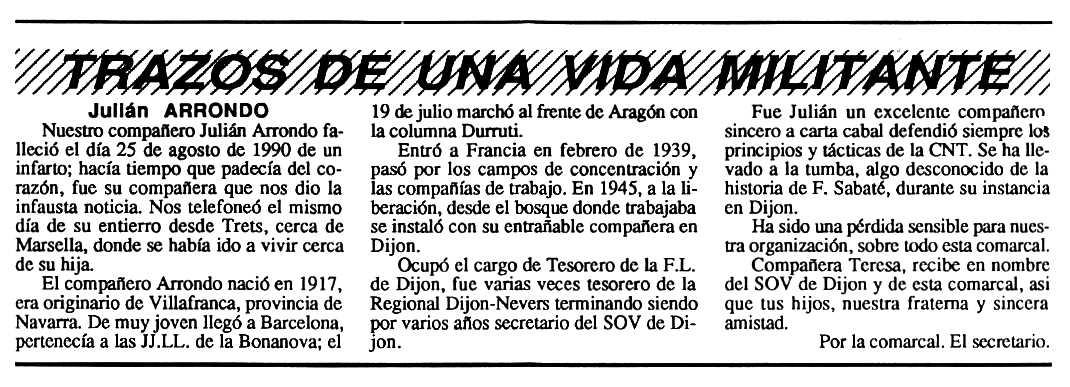 """Necrològica de Julián Arrondo apareguda en el periòdic tolosà """"Cenit"""" del 25 de desembre de 1990"""