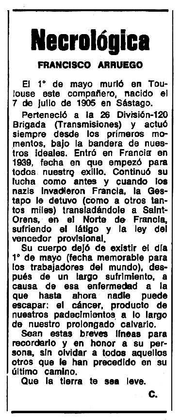 """Necrològica de Francisco Arruego apareguda en el periòdic tolosà """"Espoir"""" del 2 de desembre de 1973"""