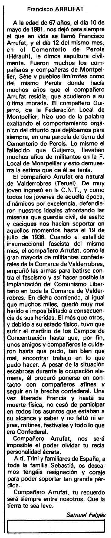 "Necrològica de Francisco Arrufat Sorolla apareguda en el periòdic tolosà ""Espoir"" del 7 de juny de 1981"