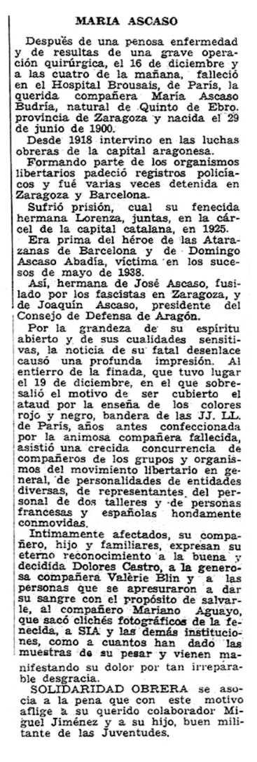 """Necrològica de María Ascaso Budría apareguda en el periòdic parisenc """"Solidaridad Obrera"""" del 29 de desembre de 1955"""