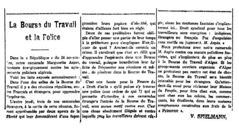 """Notícia sobre l'""""Afer Aspès"""" apareguda en el periòdic """"Alger Socialiste"""" del 4 de desembre de 1931"""