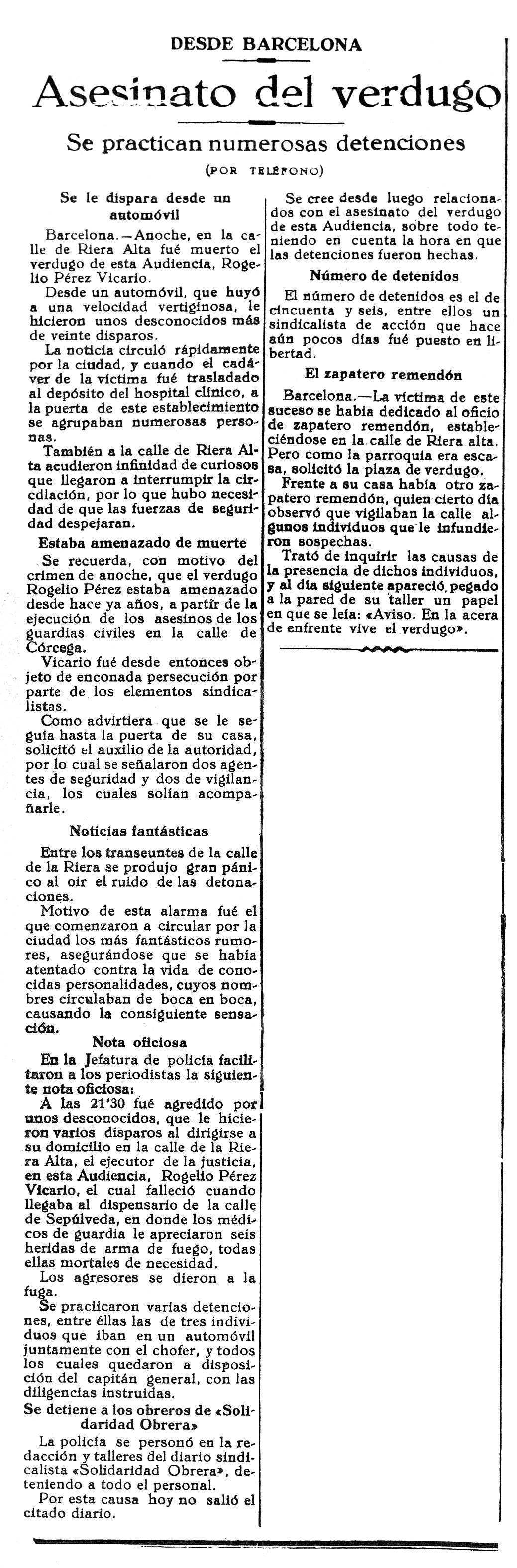 """Notícia de l'assassinat del botxí de Barcelona apareguda en el diari d'Oviedo """"La Voz de Asturias"""" del 30 de maig de 1924"""
