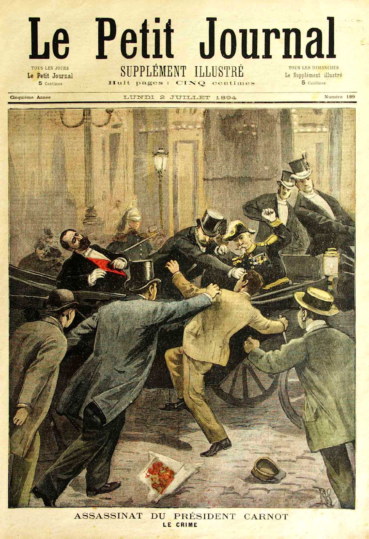 "L'assassinat de Carnot segons el diari parisenc ""Le Petit Journal"" del 2 de juliol de 1894"