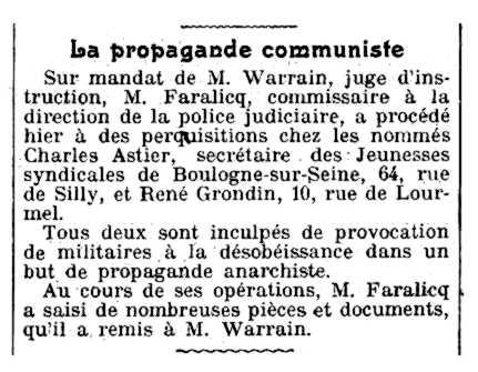"""Notícia de l'escorcoll del domicili de Charles Astier apareguda en el diari parisenc """"Le Gaulois"""" del 7 de juny de 1921"""