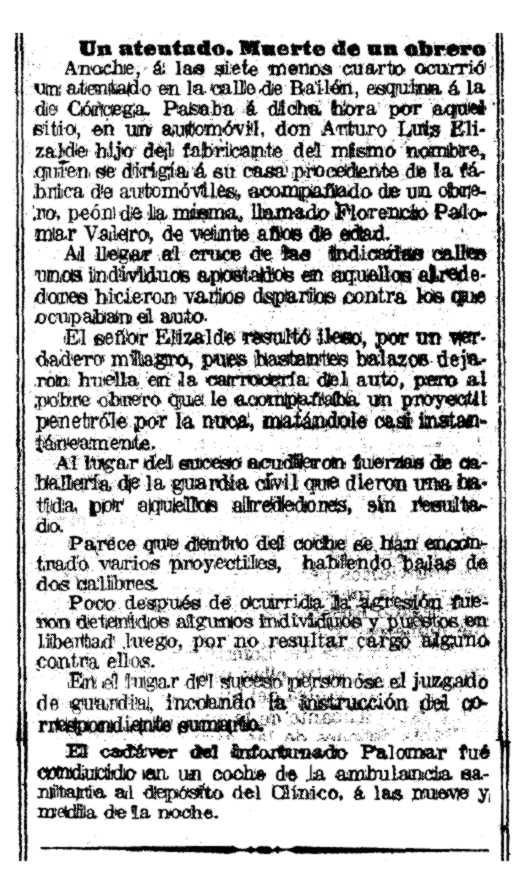 """L'atemptat contra Elizalde segons """"La Vanguardia"""" del 20 de desembre de 1919"""