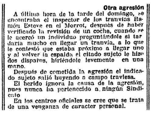 """Notícia de l'atemptat publicat a """"La Vanguardia"""" de Barcelona del 1 de març de 1921"""