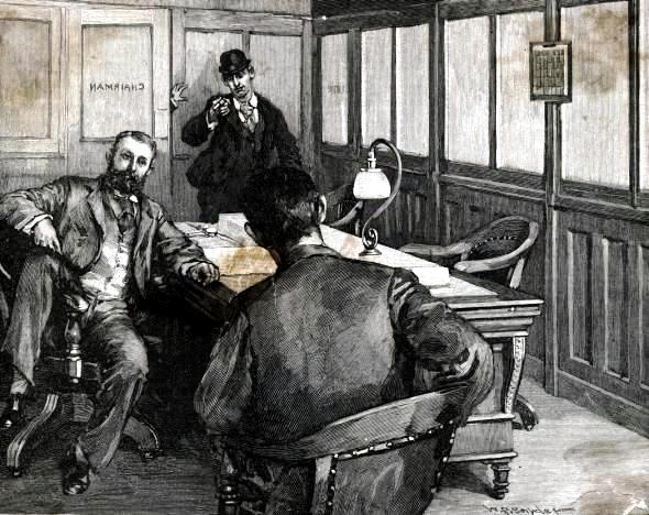 """L'atemptat de Berkman segons un dibuix de W. P. Snyder publicat en el periòdic """"Harper's Weekly"""" del 6 d'agost de 1892"""