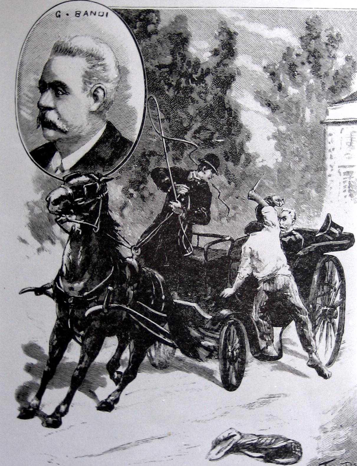 L'atemptat de Lucchesi contra Bandi segons un dibuix de l'època