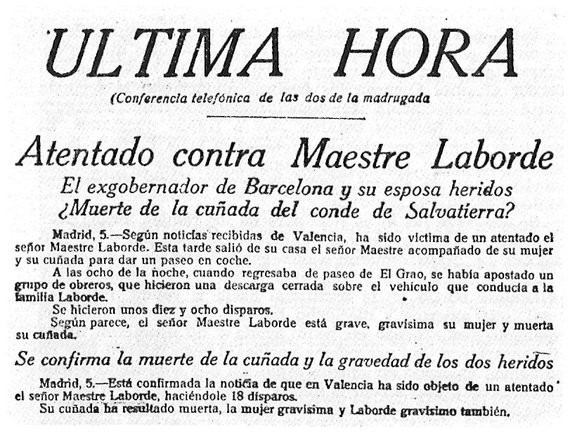 Nota de premsa de l'atemptat de Salvatierra