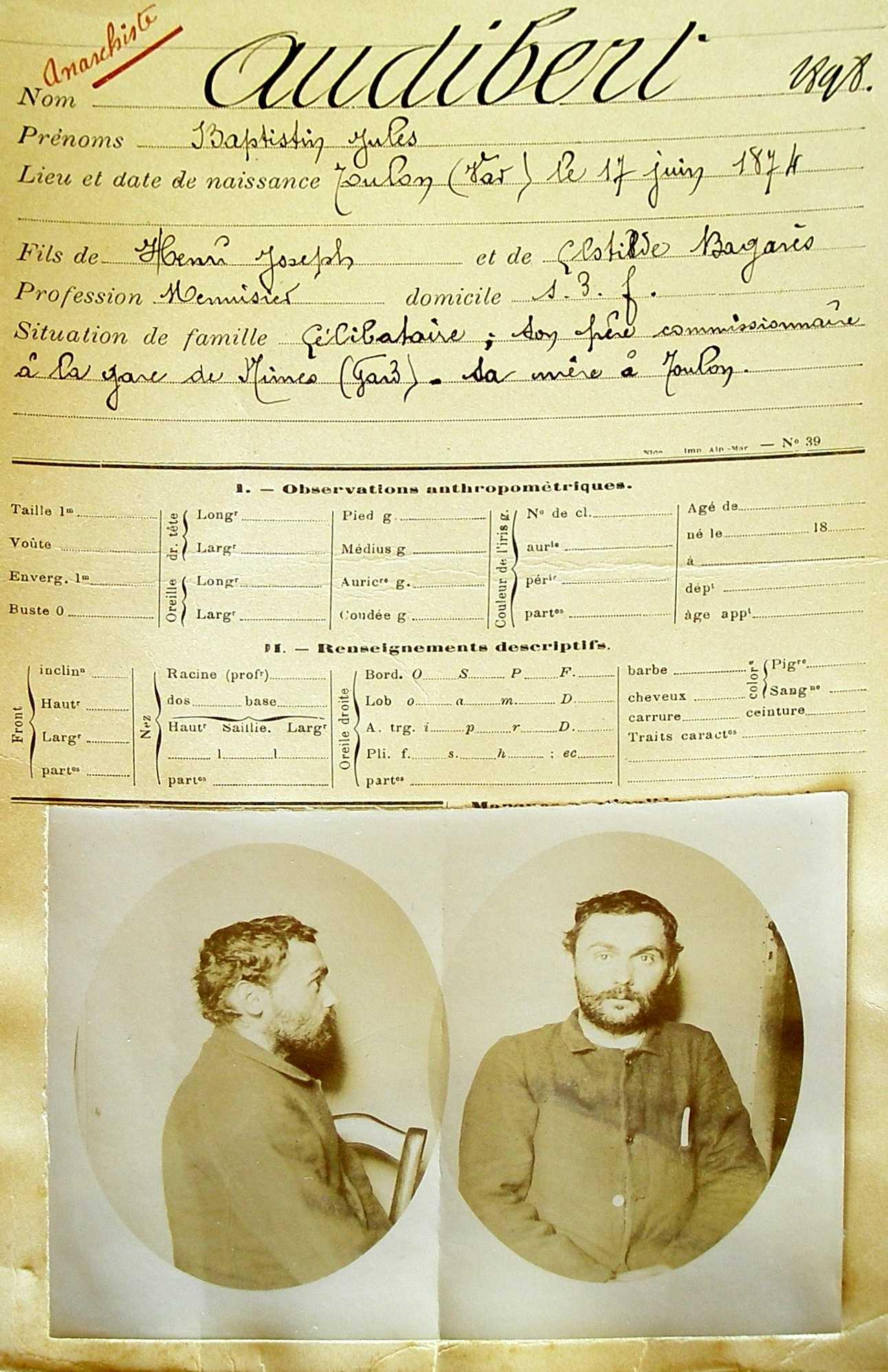 Fitxa policíaca de Baptistin Audibert (1898)