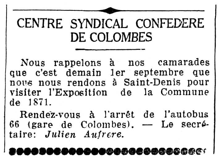 """Notícia orgànica de Julien Aufrère apareguda en el diari parisenc """"Le Populaire"""" del 31 d'agost de 1935"""