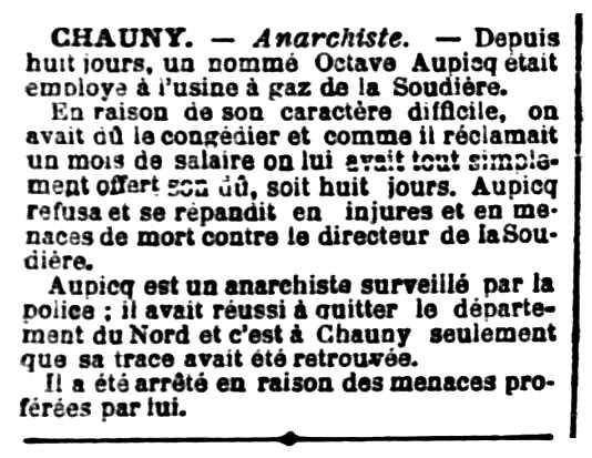"""Notícia de la detenció d'Octave Aupicq apareguda en el diari de Reims """"L'Indépendant Rémois"""" del 15 de setembre de 1902"""