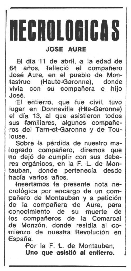 """Necrològica de José Aure apareguda en el periòdic tolosà """"Espoir"""" del 17 de juliol de 1977"""