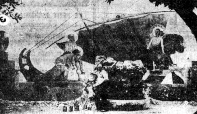 """Raphaël Auzias davant la seva obra """"La Pêche Mirauleuse"""" (Mazargues, juliol de 1935)"""