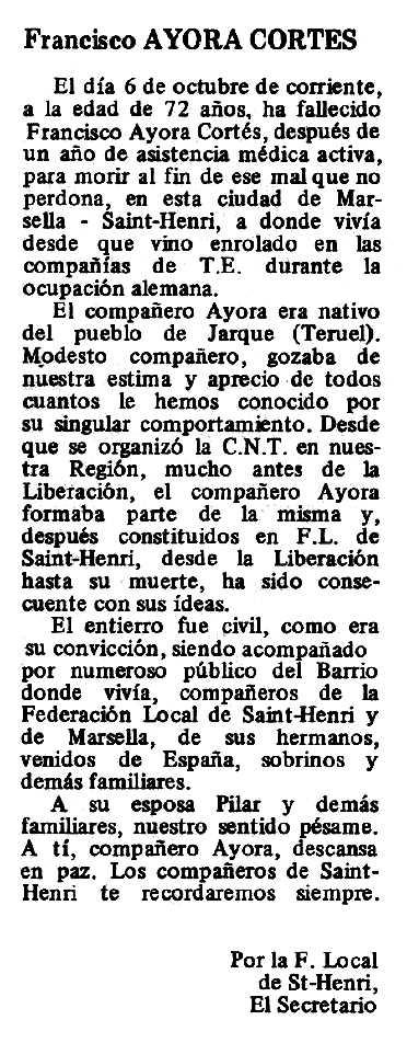 "Necrològica de Francisco Ayora Cortés apareguda en el periòdic tolosà ""Espoir"" del 7 de desembre de 1980"