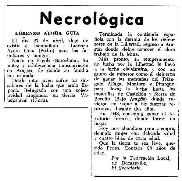 """Necrològica de Lorenzo Ayora Guía apareguda en el periòdic tolosà """"Espoir"""" del 26 de juliol de 1964"""