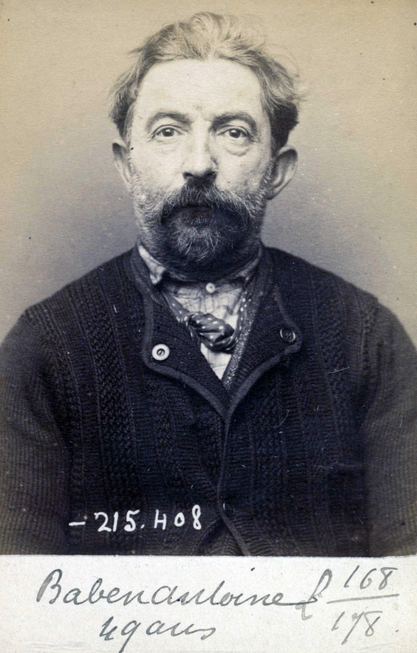 Foto policíaca d'Hippolyte Baben (9 de març de 1894)