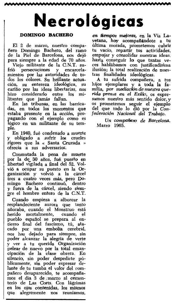 """Necrològica de Domènec Bachero apareguda en el periòdic tolosà """"Espoir"""" del 6 de juny de 1965"""