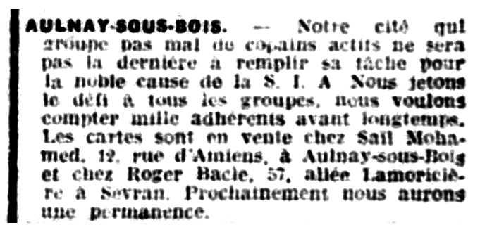 """Notícia sobre Roger Bâcle apareguda en el periòdic parisenc """"Le Libertaire"""" del 9 de desembre de 1937"""