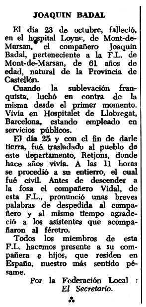 """Necrològica de Joaquim Badal Fabregat apareguda en el periòdic tolosà """"Espoir"""" del 29 de gener de 1967"""