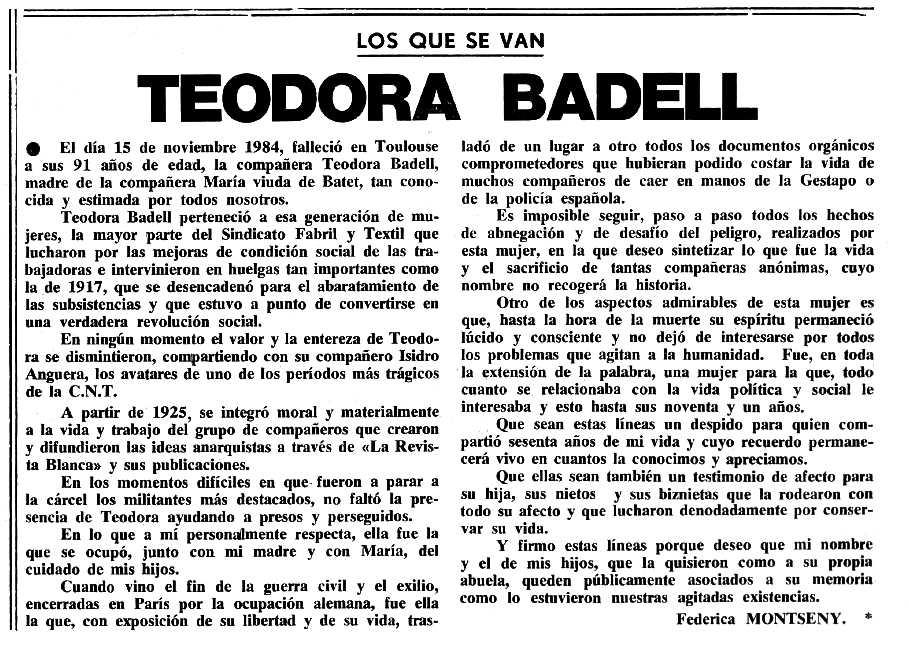 """Necrològica de Teodora Badell apareguda en el periòdic tolosà """"Cenit"""" del 18 de desembre de 1984"""
