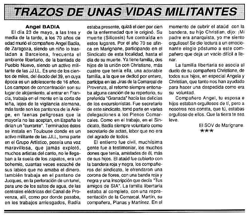 """Necrològica d'Ángel Badía Andía apareguda en el periòdic tolosà """"Cenit"""" del 16 de juny de 1992"""