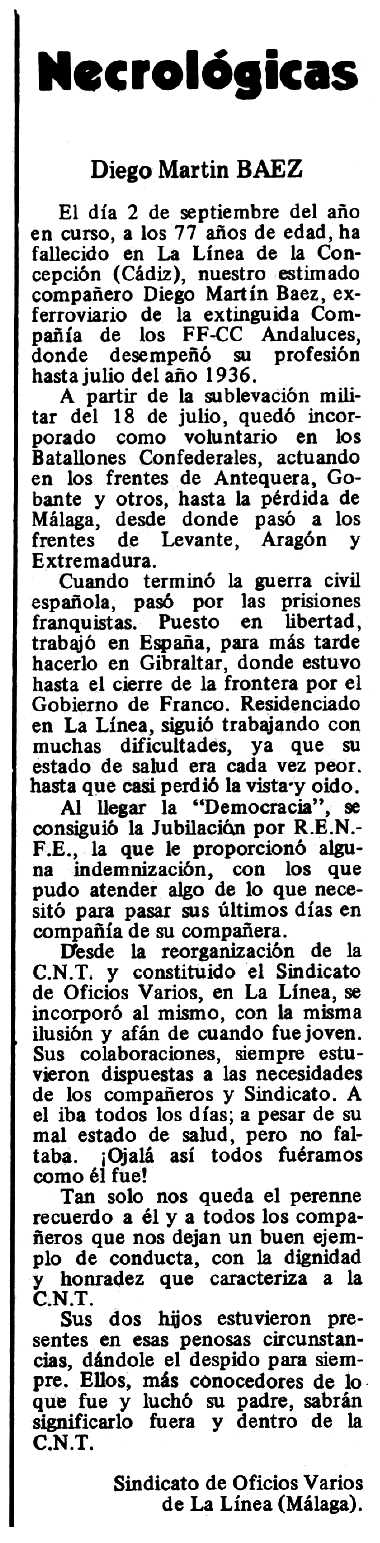 """Necrològica de Diego Martín Báez apareguda en el periòdic tolosà """"Espoir"""" del 28 de setembre de 1980"""