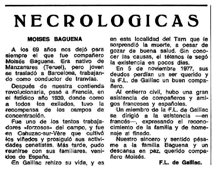 """Necrològica de Moisés Báguena Belmonte apareguda en el periòdic tolosà """"Espoir"""" del 5 de juny de 1978"""