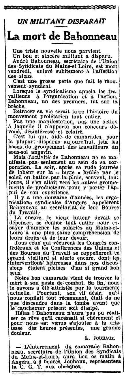 """Necrològica d'André Bahonneau apareguda en el periòdic parisenc """"L'Humanité"""" del 21 d'abril de 1918"""
