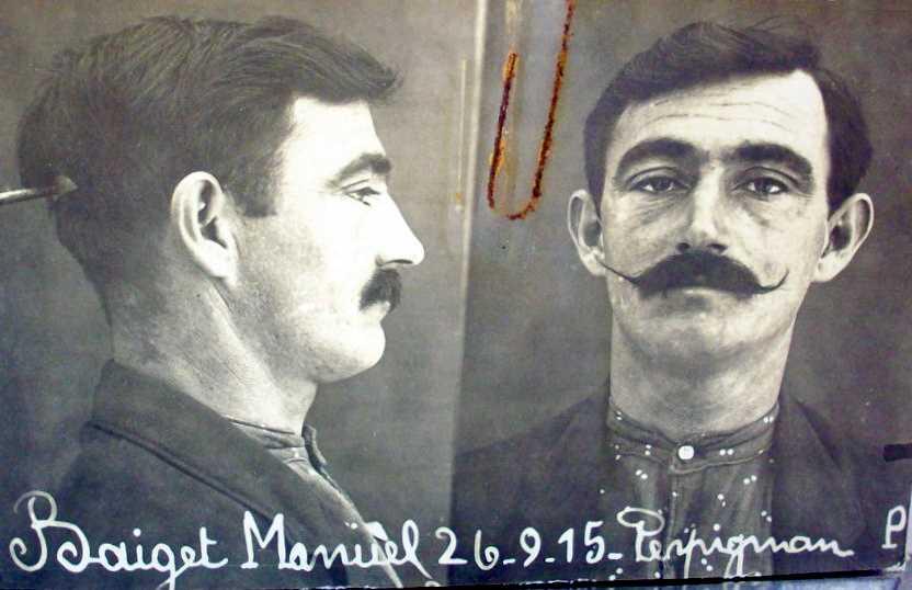 Foto antropomètrica de Manuel Baiget González (26 de setembre de 1915)