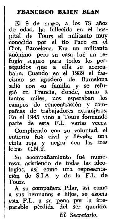"""Necrològica de Francisco Bajén Blan apareguda en el periòdic tolosà """"Espoir"""" del 24 de setembre de 1967"""