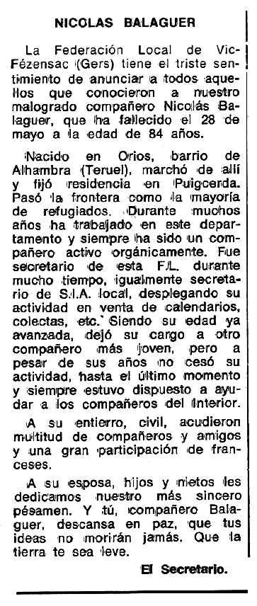 "Necrològica de Nicolás Balaguer Pérez apareguda en el periòdic tolosà ""Espoir"" del 25 de setembre de 1977"