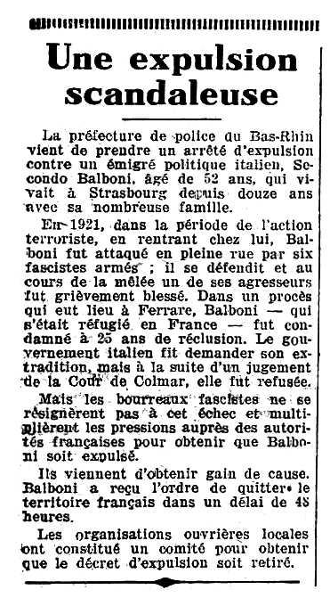 """Notícia de l'expulsió de Secondo Balboni apareguda en el diari parisenc """"Le Populaire"""" del 29 de desembre de 1934"""
