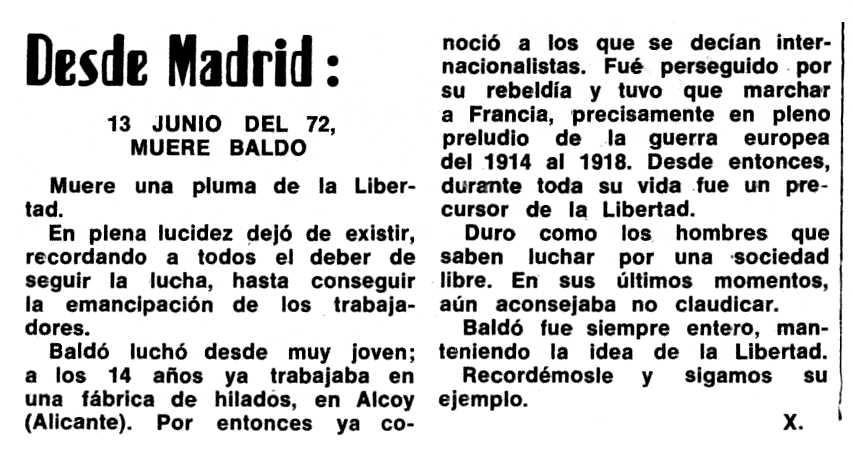 """Necrològica de Frederic Baldó Bou apareguda en el periòdic tolosà """"Espoir"""" del 2 de juliol de 1972"""